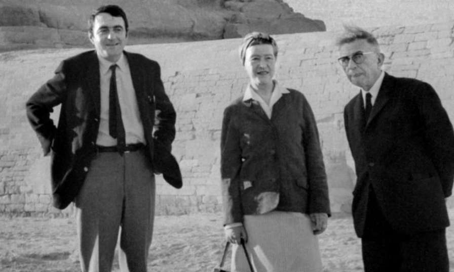 Claude Lanzmann con Simone De Beauvoir e Jean-Paul Sartre